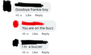 Community, Dad, and Oldpeoplefacebook: Goodoya frankie boy  46 W  Like  Reply  You are on the buzz  Like  Reply  46 W  Im a buzzer  46 w  Like  Reply This was on the community page for my suburb when my dad first joined it