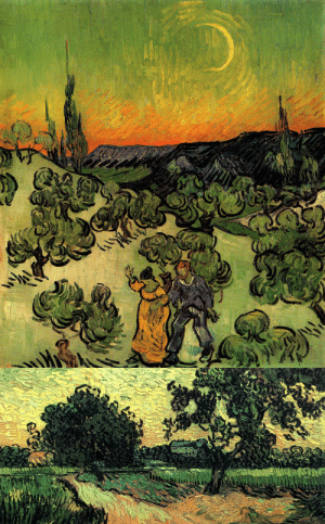 goodreadss: Landscape with Couple Walking and Crescent Moon, Vincent van Gogh (1890)Landscape with the Chateau of Auvers at Sunset, Vincent van Gogh (1890): goodreadss: Landscape with Couple Walking and Crescent Moon, Vincent van Gogh (1890)Landscape with the Chateau of Auvers at Sunset, Vincent van Gogh (1890)