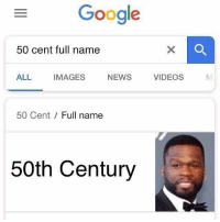 50 Cent, Google, and News: Google  50 cent full name  ALL  IMAGES  NEWS  VIDEOS  50 Cent  Full name  50th Century Knew it