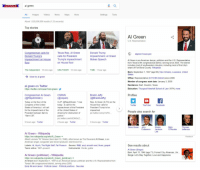 """GOOGLE  a  al green  Settings  Tools  mages  About 1,520,000,000 results (1.23 seconds)  Top stories  Congressman calls for  Texas Rep. Al Green  Donald Trump  calls for President  Impeachment: Al Green  impeachment on House Trump's impeachment  Makes Speech  on House floor  The Independen  14 mins ago  USA TODAY 12 mins ago  TIME 1 hour ago  More for al green  al green on Twitter  s://twitter.com/search/al+green  Congressman Al Green  CSPAN  Bradd Jaffy  (@RepAIGreen)  (@cspan)  (@Bradd Jaffy)  Today on the floor of the  CLIP: @RepAIGreen: rise  Rep. Al Green (D-TX) on the  Congress of the United  today...to call for the  House floor calls for  States of America  l will call  mpeachment of the President  President Trump to be  for the Impeachment of the  of the United States of  mpeached  pic twitter.com/yiloPiz  President between 9am &  America for obstruction of  10am CST  ustice,  pic.twitter.com/k30MGcz.  5 hours ago Twitter  2 hours ago. Twitter  3 hours ago Twitter  Al Green Wikipedia  https://en.wikipedia.org/wikilAl Green  Albert Lecomes """"Al"""" Greene (born April 13, 1946), often known as The Reverend Al Green, is an  American singer, songwriter and record producer, best known for  Labels: Hi, Myrrhi The Right Stuff, Fat Possum Genres: R&B soul smooth soul blues, gospel  Years active: 1967-present  nstruments: Vocals, guitar  Al Green (politician) Wikipedia  https://en.wikipedia.org/wiki/Al Green (politician)  Al Green (born September 1, 1947) is an American lawyer, politician and the U.S. Representative from  Texas's 9th congressional district, serving since 2005.  Early life and career Political career Political positions See also  Al Green  U.S. Representative  algreen house.gov  Al Green is an American lawyer, politician and the U.S. Representative  from Texas's 9th congressional district, serving since 2005. The district  includes most of southwestern Houston, including most of that city's  share of Fort Bend County. Wikipedia  Born: September 1, 1947 (a"""
