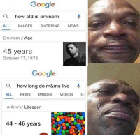 Eminem, Google, and Memes: Google  a  how old is eminem  ALL IMAGES SHOPPING NEWS  Eminem Age  45 years  October 17, 1972  Google  Q how long do m&ms live  ALL NEWS IMAGES VIDEOS M  m&m's/ Lifespan  44 46 years 😭😭😭