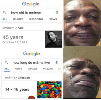 Eminem, Google, and News: Google  a  how old is eminem  ALL IMAGES SHOPPING NEWS  Eminem Age  45 years  October 17, 1972  Google  a  how long do m&ms live  ALL NEWS IMAGES VIDEOS M  m&m's/ Lifesparn  44 46 years