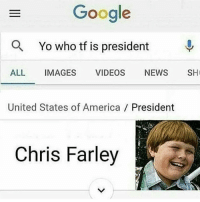 😂😂 from @colleen_cebulski memes: Google  a Yo who tf is president  ALL  IMAGES  VIDEOS  NEWS  SH  United States of America President  Chris Farley 😂😂 from @colleen_cebulski memes