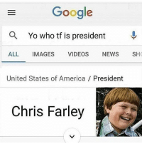 Whomstttt mans 😤😤😤😤😤: Google  a Yo who tf is president  ALL  IMAGES  VIDEOS  NEWS  SHO  United States of America President  Chris Farley Whomstttt mans 😤😤😤😤😤
