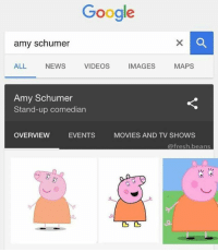 stand up comedian: Google  amy schumer  ALL NEWS  VIDEOS  IMAGES  MAPS  Amy Schumer  Stand-up comedian  OVERVIEW  EVENTS  MOVIES AND TV SHOWS  @fresh beans
