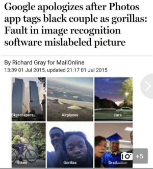 Cars, Google, and Black: Google apologizes after Photos  app tags black couple as gorillas:  Fault in image recognition  software mislabeled picture  By Richard Gray for MailOnline  13:39 01 Jul 2015, updated 21:17 01 Jul 2015  skyscrapers  Airplanes  Cars  Bikes  Graduation  Gorilas X-post from r/therewasanattempt