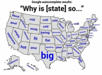 """Bad, Google, and Tumblr: Google autocomplete results:  """"Why is [state] so...""""  liberal  eralwhite  cold  cold cold  good  cold  cold  expensive  windy  boring ratic  bad  strict  oor  cheap  racist  republican poor  of / poor 