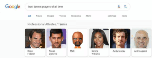 Google, News, and Roger: Google  best tennis players of all time  ll News Images Videos ShoppingMore  Settings Tools  Professional Athletes/Tennis  Novak  Djokovic  Matt  Andy Murray  Andre Agassi  Roger  Federer  Serena  Williams Please, any other Mii but him!