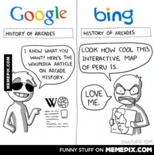 The difference…omg-humor.tumblr.com: Google bing  HISTORY OF ARCADES  HISTORY OF ARCADES  LOOK HOW COOL THIS  INTERACTIVE MAP  I KNOW WHAT YOU  WANT! HERE'S THE  WIKIPEDIA ARTICLE  ON ARCADE  OF PERU IS.  HISTORY.  LOVE  ME.  We  OWLTURD.COM  FUNNY STUFF ON MEMEPIX.COM  MEMEPIX.COM The difference…omg-humor.tumblr.com