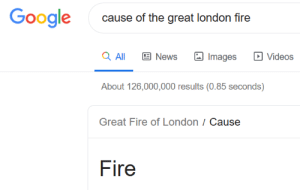 Gracias, hombre.: Google  cause of the great london fire  a All  News  Videos  Images  About 126,000,000 results (0.85 seconds)  Great Fire of London / Cause  Fire Gracias, hombre.