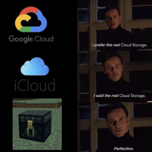 Lmao only epic gamers will understand this meme😎: Google Cloud  i prefer the real Cloud Storage.  iCloud  I said the real Cloud Storage.  Perfection. Lmao only epic gamers will understand this meme😎
