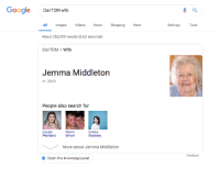 Emma Blackery: Google DanTOMwie  All Images Videos News  About 352,000 results (0.62 seconds)  DanTDM/ Wife  ShoppingMore  Settings Tools  Jemma Middleton  m. 2013  People also search for  Louise  Pentland  Niomi  Smart  Emma  Blackery  More about Jemma Middleton  Feedback  Claim this knowledge panel