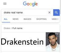 Real Name: Google  drake real name  ALL  NEWS  IMAGES  SHOPPING  VIDEOS  Drake Full name  Drakenstein