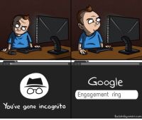 Google, Incognito, and Engagement Ring: Google  Engagement ring  OTO  You've gone incognito  tum ble dryconics.com Keep it secret :)