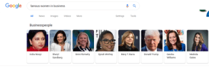 Famous Women in Business: Google  famous women in business  All News Images VideosMore  Settings Tools  Businesspeople  Geisha  Williams  Indra Nooyi  Sheryl  Sandberg  Ginni Rometty  Oprah Winfrey  Donald Trump  Melinda  Gates  Mary T. Barra Famous Women in Business