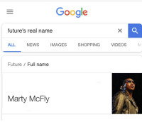 Real Name: Google  future's real name  ALL NEWS IMAGES SHOPPING VIDEOS  Future / Full name  Marty McFly