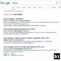 "True.: Google hail mary  All Videos Images News Books More  Sett  ings Tools  About 106,000,000 results (0.63 seconds)  Did you mean: aaron rodgers  Aaron Rodgers - Wikipedia  https://en.wikipedia.org/wiki/Aaron.Rodgers ▼  Aaron Charles Rodgers (born December 2, 1983) is an American football quarterback for the Green Bay  Packers of the National Football League (NFL).  Jordan Rodgers California Golden Bears football Chico, California. Suamico  Aaron Rodgers (@AaronRodgers12)| Twitter  https://twitter.com/aaronrodgers12?lang-en ▼  The latest Tweets from Aaron Rodgers (@AaronRodgers12): "" guess I'm more of a singing judge than a  singer. @singmovie #ad https://t.co/1lWAUrhUT.  Aaron Rodgers- Bleacher Report 