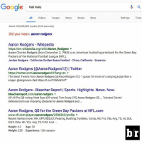 "True.: Google hail mary  All Videos  Images  News  Books  More  Settings  Tools  About 106,000,000 results (0.63 seconds)  Did you mean  aaron rodgers  Aaron Rodgers Wikipedia  https://en.wikipedia.org/wiki/Aaron Rodgers  Aaron Charles Rodgers (born December 2, 1983) is an American football quarterback for the Green Bay  Packers of the National Football League (NFL).  Jordan Rodgers California Golden Bears football. Chico, California Suamico  Aaron Rodgers (@AaronRodgers12) l Twitter  https://twitter.com/aaronrodgers12?lang en  The latest Tweets from Aaron Rodgers (@AaronRodgers12): ""Iguess I'm more of a singing judge than a  singer. @singmovie Had https://t.co/l1IWAUrhUT""  Aaron Rodgers Bleacher Report l Sports. Highlights. News. Now.  bleacherreport.com/aaron-rodgers  AP All Pro QB voting: Matt Ryan (29 votes) Tom Brady (15 Aaron Rodgers (5)... Talented Giants'  defense looms as imposing obstacle for Aaron Rodgers and  Aaron Rodgers, QB for the Green Bay Packers at NFL.com  www.nfl.com/player/aaronrodgers/2506363/profile  Recent Games more. WK, OPP RESULT Passing, Rushing, Fumbles. Comp, Att, Pct, Yds, Avg, TD, Int, Sck,  SckY, Rate, Att, Yds, Avg, TD, FUM, Lost  Height: 6-2  Age: 33  Weight: 225 Experience: 12th season True."