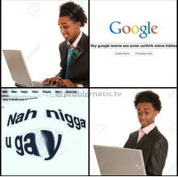 Anaconda, Anime, and Google: Google  Hey google lemme see some uuhhhh anime tiddies  Google Search I'm Feeling Lucky  Aboat 17.100,000 resuts os  Nan nigga  uga y