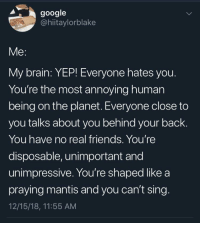 meirl: google  @hiitaylorblake  Me:  My brain: YEP! Everyone hates you  You're the most annoying human  being on the planet. Everyone close to  you talks about you behind your back.  You have no real friends. You're  disposable, unimportant and  unimpressive. You're shaped like a  praying mantis and you can't sing  12/15/18, 11:55 AM meirl
