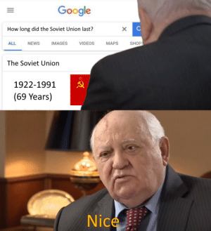 Google, News, and Videos: Google  How long did the Soviet Union last?  X  SHOP  ALL  NEWS  IMAGES  VIDEOS  МАPS  The Soviet Union  1922-1991  (69 Years)  Nice  о Nice