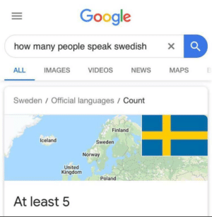 Oh golly that's crazy: Google  how many people speak swedish  X  NEWS  ALL  IMAGES  VIDEOS  MAPS  Sweden/Official languages / Count  Finland  Iceland  Sweden  Norway  United  Kingdom  Poland  At least 5 Oh golly that's crazy