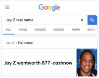 Real Name: Google  Jay-Z real name  ALL NEWS IMAGES VIDEOS MAPS SHOP  Jay-Z Full name  Jay Z wentworth 877-cashnow
