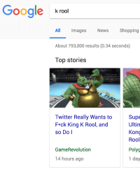 Google, News, and Shopping: Google k00  k rool  Shopping  All Images  About 793,000 results (0.34 seconds)  Top stories  News  Twitter Really Wants to  F*ck King K Rool, andd  so Do l  Supe  Ultim  Kong  Rool  Polyg  1 day  GameRevolution  4 hours ago