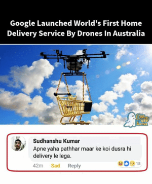 Google, Memes, and Australia: Google Launched World's First Home  Delivery Service By Drones In Australia  SE  Sudhanshu Kumar  Apne yaha pathhar maar ke koi dusra hi  delivery le lega  42m Sad Reply  15 😢