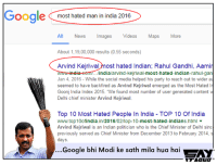Some people are just born to be legend 😂: Google most hated man in india 2016  All News Images  Videos  Maps  More  About 1,19,00,000 results (0.55 seconds)  Arvind Kejriwal  ost hated Indian; Rahul Gandhi, Aamir  wwmmindia india/arvind-Kejriwal  most-hated-indian-rahul-gan  Jan 4, 2016 While the social media helped his party to reach out to wider au  seemed to have backfired as Arvind Kejriwal emerged as the Most Hated In  Goonj India Index 2015. We found most number of user generated content w  Delhi chief minister Arvind Kejriwal.  Top 10 Most Hated People In India TOP 10 Of India  wwwtop10ofindia  in/2016/02/top-10  most-hated-indians.html  Arvind Kejriwal is an Indian politician who is the Chief Minister of Delhi sinc  previously served as Chief Minister from December 2013 to February 2014, s  days.  Google bhi Modi ke sath mila hua hai  Ay Some people are just born to be legend 😂