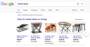 Google, Internet, and Shopping: Google nestod a  Settings  ll Images  About 4,340,000 results (0.53 seconds)  Shop for nested tables on Google  Shopping  Videos  Maps More  Tools  Sponsored  Nesting Tables InSina Set Of 3  Oak Wood  $499.00  Article  Charlton Home  Raynsford3  $139.99  Wayfair.ca  Free shipping  Kay Set Of 2  Nesting Tables...  $189.00  Structubee  Zak Set Of 3  Nesting Tables...  $149.00  Structubee  Tables Natural  $199.00  Structubee When you forgot that not everyone who uses the internet is a programmer.
