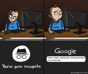 Google, Life, and Incognito: Google  OTO  have i been wiping the wrong direction  my whole life  You've gone incognito  tumbledycomics.com Incognito