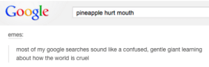 Gentle giantomg-humor.tumblr.com: Google  pineapple hurt mouth  emes:  most of my google searches sound like a confused, gentle giant learning  about how the world is cruel Gentle giantomg-humor.tumblr.com