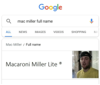 Google, Mac Miller, and News: Google  Q  mac miller full name  ALL NEWS IMAGES VIDEOS SHOPPING M  Mac Miller  Full name  Macaroni Miller Lite ®