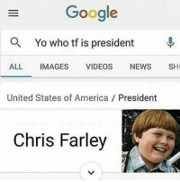 what is this- luke: Google  Q. Yo who tf is president  ALL  IMAGES  VIDEOS  NEWS  SH  United States of America President  Chris Farley  G what is this- luke