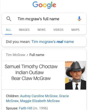 I hear he's from Wichita: Google  QTim mcgraw's full name  ALL  IMAGES  NEWS  VIDEOS  MAPS  Did you mean: Tim mcgraw's real name  Tim McGraw Full name  ARDS  Samuel Timothy Choctaw  Indian Outlaw  Bear Claw McGraw  JER LECOMEDY  Children: Audrey Caroline McGraw, Gracie  McGraw, Maggie Elizabeth McGraw  Spouse: Faith Hill (m. 1996) I hear he's from Wichita