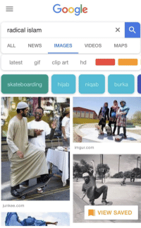 Dude, Gif, and Google: Google  radical islam  ALL NEWS IMAGESVIDEOS MAPS  atest gif clip art hd  skateboarding  hijab  nigab  burka  imgur.com  junkee.com  VIEW SAVED <p>Radical dude 🤙🏿</p>