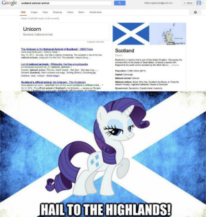 Animals, Deer, and England: Google  scotland national animal  thebronyphysicist@gmal.c  +Share  More  Web  Images  Maps  Shopping  Videos  Search tools  About 14,400,000 results (0.22 seconds)  Unicorn  Scotland, National animal  North Sea  Foodback /Mare into  United  iAR data C2013  The Unicorn is the National Animal of Scotland!-OMG Facts  www.omg-facts.com History Facts-  May 16, 2012-Actually, that title is slightly misleading. The unicorn is one of the two  national animals, along with the Red Lion. The unicorn, despite being.  Scotland  Country  Scotland is a country that is part of the United Kingdom. Occupying the  northem third of the island of Great Britain, it shares a border with  England to the south and is bounded by the North Sea to Wipeda  List of national animals-Wikipedia. the free encyclopedia  en.wikipedia.org/wiki/List of national animals  Country, National animal, Pictures. Aland Islands Red Deer Red deer stag  Unicorn (Scotland), Wesh unicorn statue.jpg Bulldog (Britain), Ozbuldog.jpg  Chollima Druk-Unicom- Welsh Dragon  Population: 5.295 million (2011)  Capital: Edinburgh  National animal: Unicom  Scotland's official animal, the Unicorn-The Scotsman  www.scotsman.com/.../scottish-fact-of-the-week-scotland-s-offficial-anim...  Oct 5, 2012 The official animal of Scotland is the Unicorn... resigns as Rangers  chaiman: 2 Scottish fact of the week: Scotland's official animal, the Unicorm.  National anthem: Scots Wha Hae, Scotland the Brave, Is There for  Honest Poverty, Highland Cathedral, Flower of Scotland  Government: Devolution, Constitutional monarchy  HAIL TO THE HIGHLANDS! I don't know if this belongs here