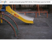 Google, Memes, and Fuck: Google  speedy cat (woosh) going FAST AS ALL FUcK down supre fun SLIDE