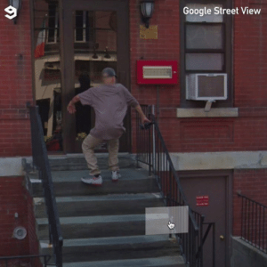 Glad that nobody saw him.: Google Street View Glad that nobody saw him.