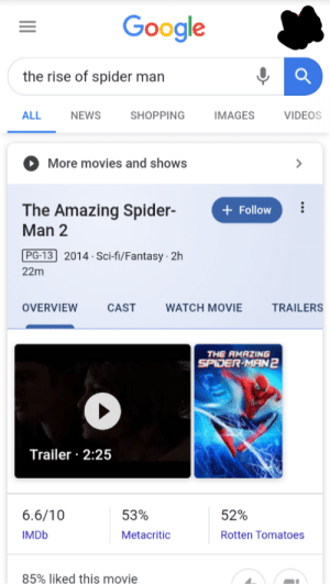 Google, Movies, and News: Google  the rise of spider man  ALL  NEWS  SHOPPING  IMAGES  VIDEOS  More movies and shows  The Amazing Spider-  Man 2  Follow  PG-13 2014 Sci-fi/Fantasy 2h  22m  OVERVIEW  CAST  WATCH MOVIE  TRAILERS  THE RMAZING  SPIDER-MAN2  Trailer 2:25  6.6/10  53%  52%  IMDB  Metacritic  Rotten Tomatoes  85% liked this movie Google is the best! - Ok, google