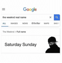 Y'all got jokes! 😳😩😂 https://t.co/lKbdn1nYHS: Google  the weeknd real name  ALL IMAGESNEWS @thrifter MAPS SHOP  The Weeknd/Full name  Saturday Sunday Y'all got jokes! 😳😩😂 https://t.co/lKbdn1nYHS