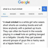 "Well I know hella mud cricket in vincy 😭😔😳: Google  what is a mud cricket  ALL IMAGES NEWS VIDEOS MAPS  A mud cricket is a white girl who wears  short shorts an cowboy boots and will  blow anybody with a jacked up truck.  They can often be found in the woods  playing in a mud hole an getting banged  on a tailgate. Usually they get passed  around groups of guys like a hacky sack  at a hippie festival."" Apr 21, 2016 Well I know hella mud cricket in vincy 😭😔😳"