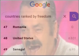 76 Funny Pics And Memes We've Been Loving Lately: Google  X  countries ranked by freedom  Romania  47  63.01  United States  48  6.93  Senegal  49 76 Funny Pics And Memes We've Been Loving Lately