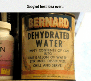 srsfunny:  Probably Created By A Genius: Googled best idea ever...  BERNARD  DEHYDRATED  WATER  IN  EMPTY CONTENTS OF CAN  INTO  ONE GALLON OF WATER  STIR UNTIL DISSOLVED  CHILL AND SERVE srsfunny:  Probably Created By A Genius