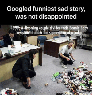 Disappointed, Sad, and Baby: Googled funniest sad story,  was not disappointed  1999 A divorcing couple divides their Beanie Baby  investment -under the supervision of a judge Googled funniest sad story, was not dissapointed