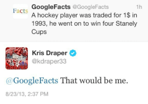 Draper: GoogleFacts @GoogleFacts  A hockey player was traded for 1$ in  1993, he went on to win four Stanely  Cups  1h  Facts  Kris Draper  @kdraper33  @GoogleFacts That would be me.  8/23/13, 2:37 PM