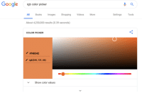 The hero we need, but dont deserve: Googlergb color picker  All Books mages Shopping VideosMore  Settings Tools  About 4,230,000 results (0.39 seconds)  COLOR PICKER  #148342  rgb(244,131, 66)  Show color values The hero we need, but dont deserve