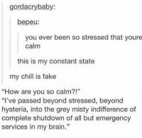 """my chill is fake: gorda cry baby:  bepeu  you ever been so stressed that youre  calm  this is my constant state  my chill is fake  """"How are you so calm?!""""  """"I've passed beyond stressed, beyond  hysteria, into the grey misty indifference of  complete shutdown of all but emergency  services in my brain."""" my chill is fake"""