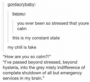 """At that point fight now 🤷🏻♀️: gordacrybaby:  bepeu:  you ever been so stressed that youre  calm  this is my constant state  my chill is fake  """"How are you so calm?!""""  """"I've passed beyond stressed, beyond  hysteria, into the grey misty indifference of  complete shutdown of all but emergency  services in my brain.""""  13 At that point fight now 🤷🏻♀️"""